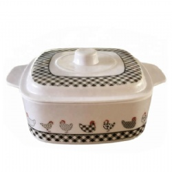 square shape melamine bowl with lid or cover and handle